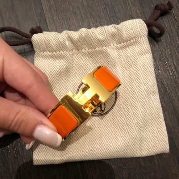 Hermes Jewelry   Large H Bracelet In Gold And Orange Enamel   Poshmark e7c898fa5f5